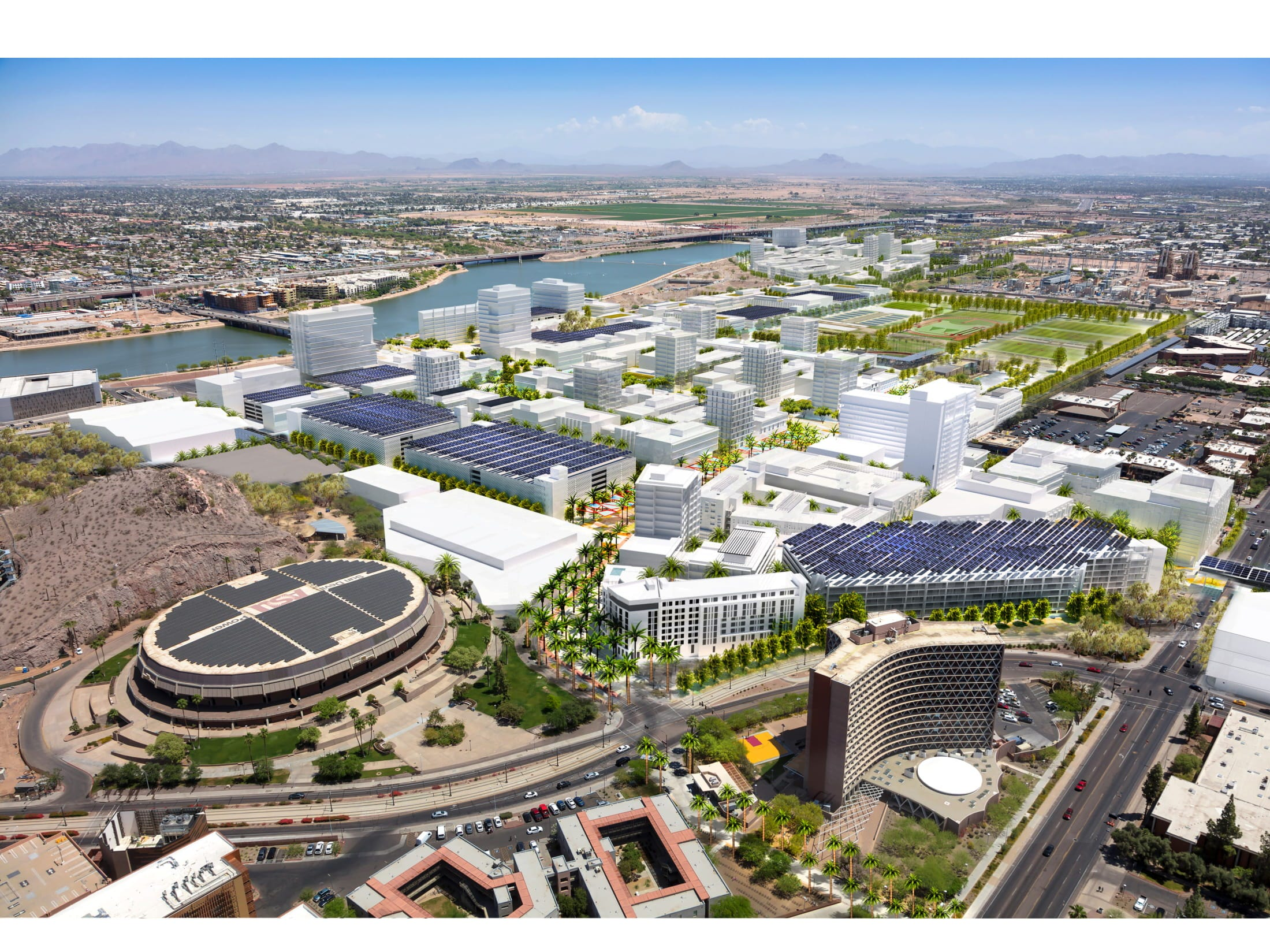 An aerial rendering of the developments planned for Arizona State University's athletic district in the Tempe Novus Innovation Corridor.