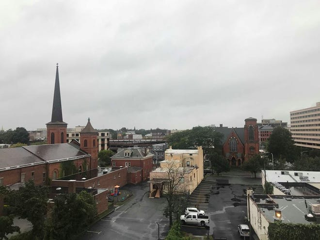 Weather conditions outside The Poughkeepsie Journal building on Friday, Sept. 28, 2018.