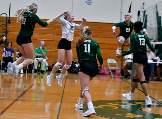 Delone Catholic at York Catholic girls' volleyball, Thursday, Sept. 27, 2018. John A. Pavoncello