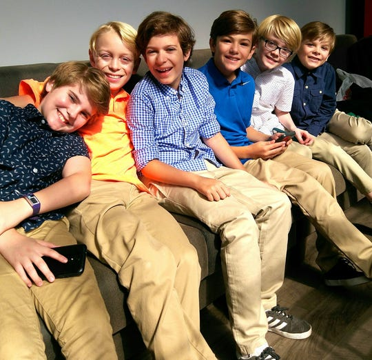 """Northeastern eighth-grader Seth Erdley, fourth from left, and the rest of the """"Finding Neverland"""" boys, who share roles as Jack, Peter and George in the touring production of the Broadway show, will start their national tour at Hershey Theatre on Oct. 2."""