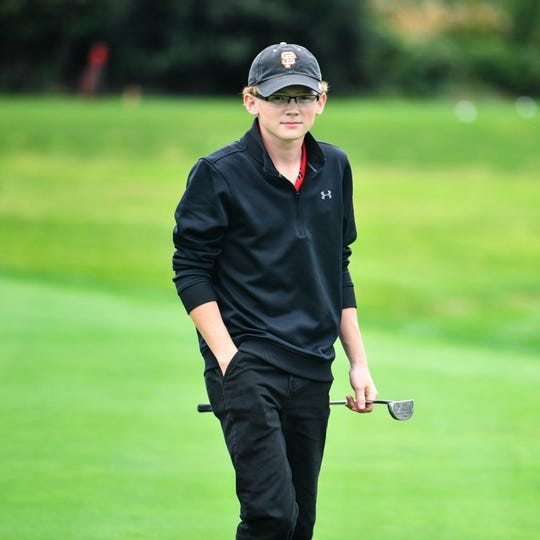 Andrew Roberts of Susquehannock finishes the third hole during the YAIAA league individual golf tournament at Briarwood Golf Club, Thursday, September 27, 2018.
