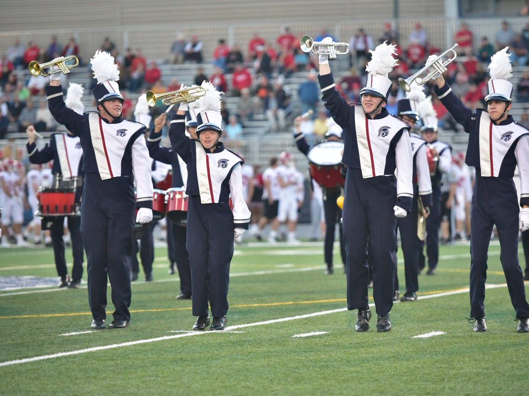 Chambersburg band plays its pregame show before the game against Cumberland Valley.