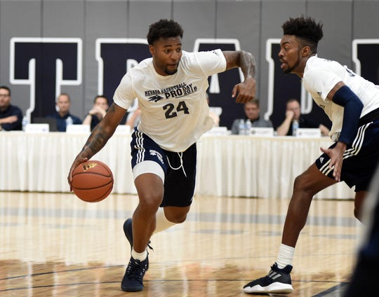Nevada basketball players show off their skills in front of scouts during Wolf Pack Basketball Pro Day on Sept. 27, 2018.