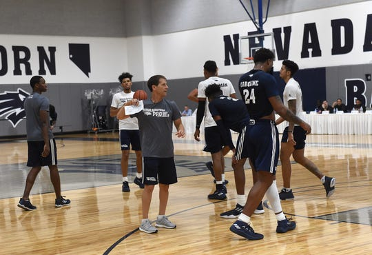 Nevada basketball players show off their skills in front of scouts during Wolf Pack Basketball Pro Day at UNR on Sept. 27, 2018.