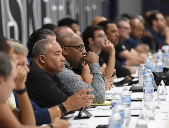 Basketball scouts watch the Pack play during Wolf Pack Basketball Pro Day at Nevada on Sept. 27, 2018.