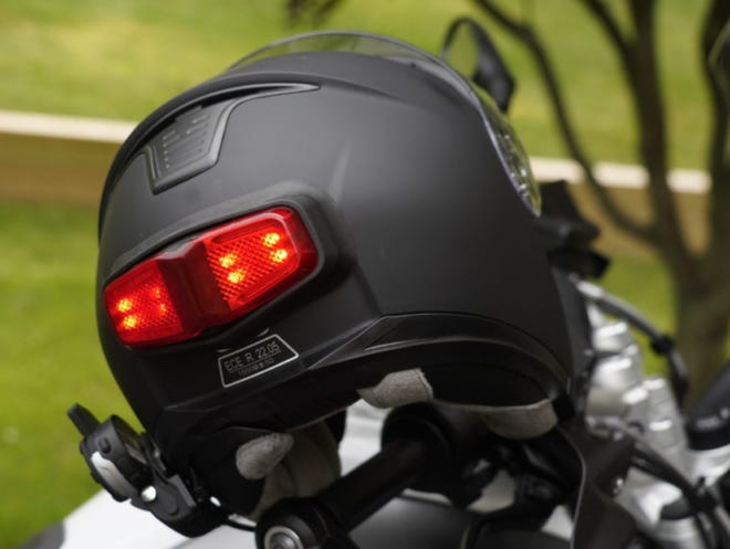 inView, a helmet-mounted brake and signal light developed by Pittsford inventor David Werner