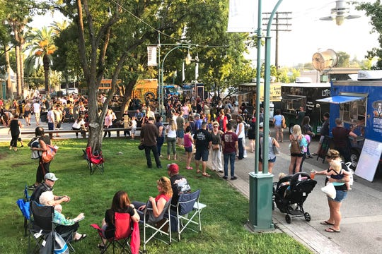The opening night of The Park food truck hub at Carnegie Park in downtown Redding drew a large crowd on Sept 27.