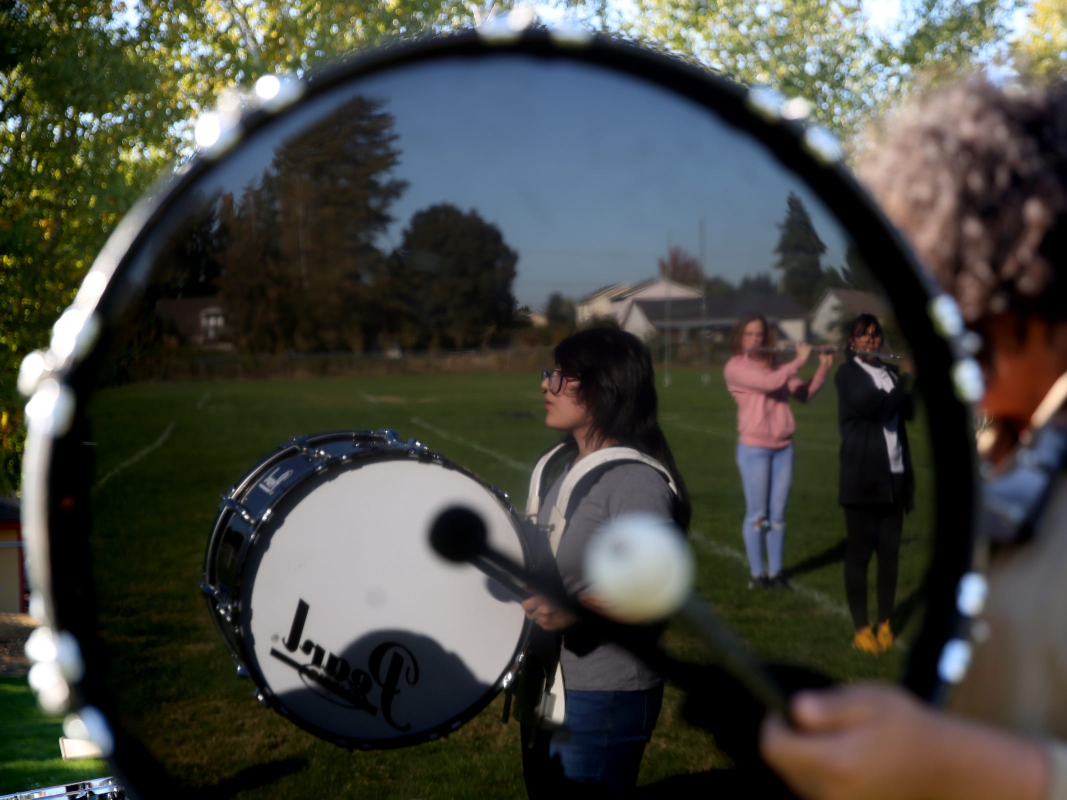 The McKay marching band drum line rehearses at McKay High School in Salem on Thursday, Sep. 27, 2018.