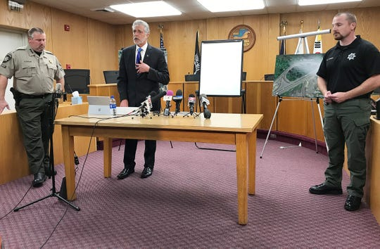 Yamhill County District Attorney Brad Berry, second from left, speaks during a press conference Thursday September 27, 2018, to give an update in the case of a missing Salem woman who was discovered dead from blunt force trauma in a ditch outside Dayton, Oregon. Officials said the woman's mother lied to investigators about the night she went missing. Investigators believe Cordie opened her car door while her mother was accelerating onto the Highway 18 on-ramp. They do not know whether she lost her balance and fell out or purposely jumped out.