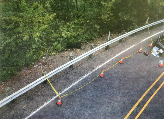 A photograph shows on display during a press conference Thursday, September 27, 2018, shows Joggers discovered Cordie's body down an embankment near Highway 18 on Aug. 23. Officials said the woman's mother lied to investigators about the night she went missing. Investigators believe Cordie opened her car door while her mother was accelerating onto the Highway 18 on-ramp. They do not know whether she lost her balance and fell out or purposely jumped out.