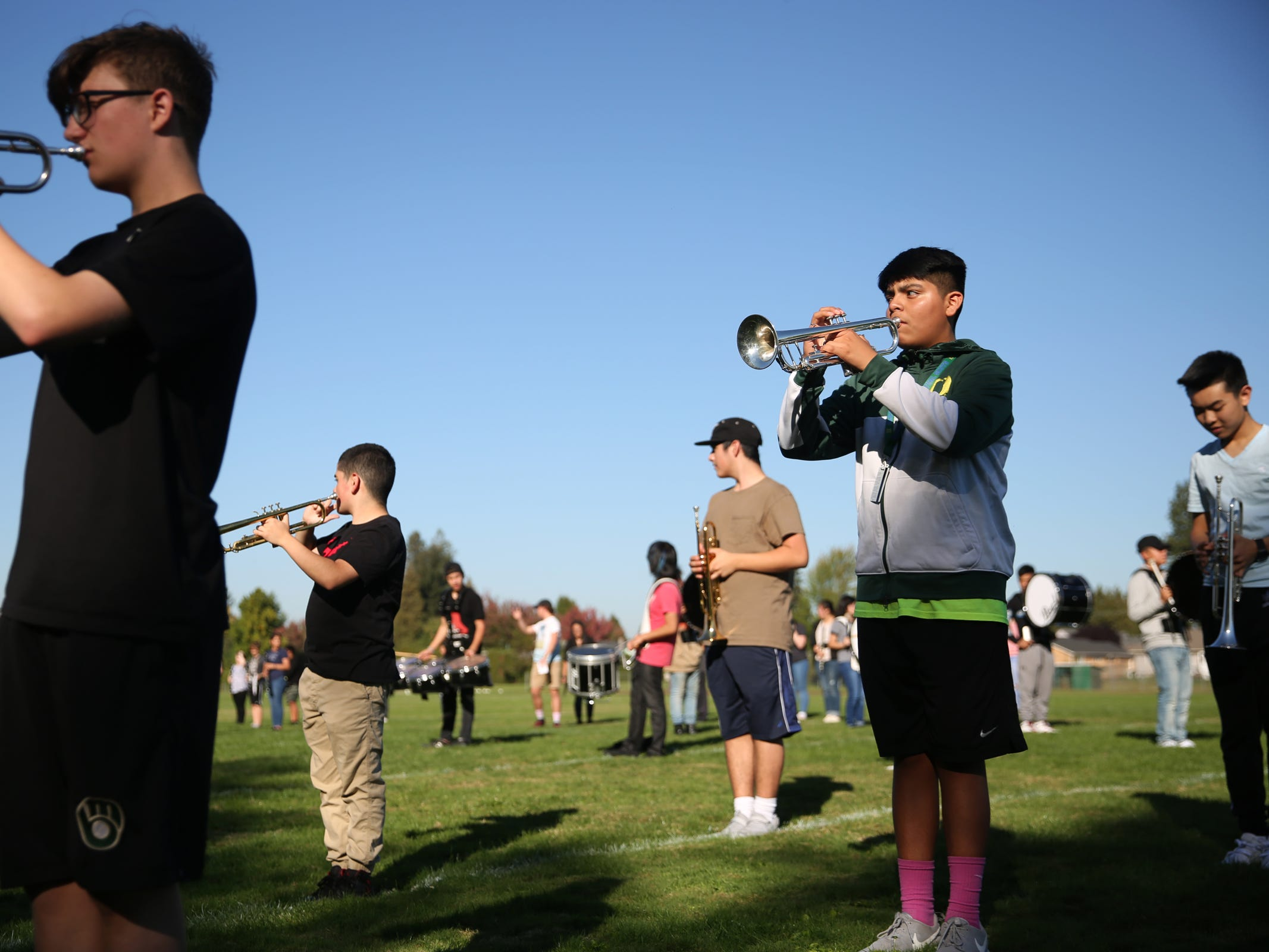 The McKay marching band rehearses at McKay High School in Salem on Thursday, Sep. 27, 2018.