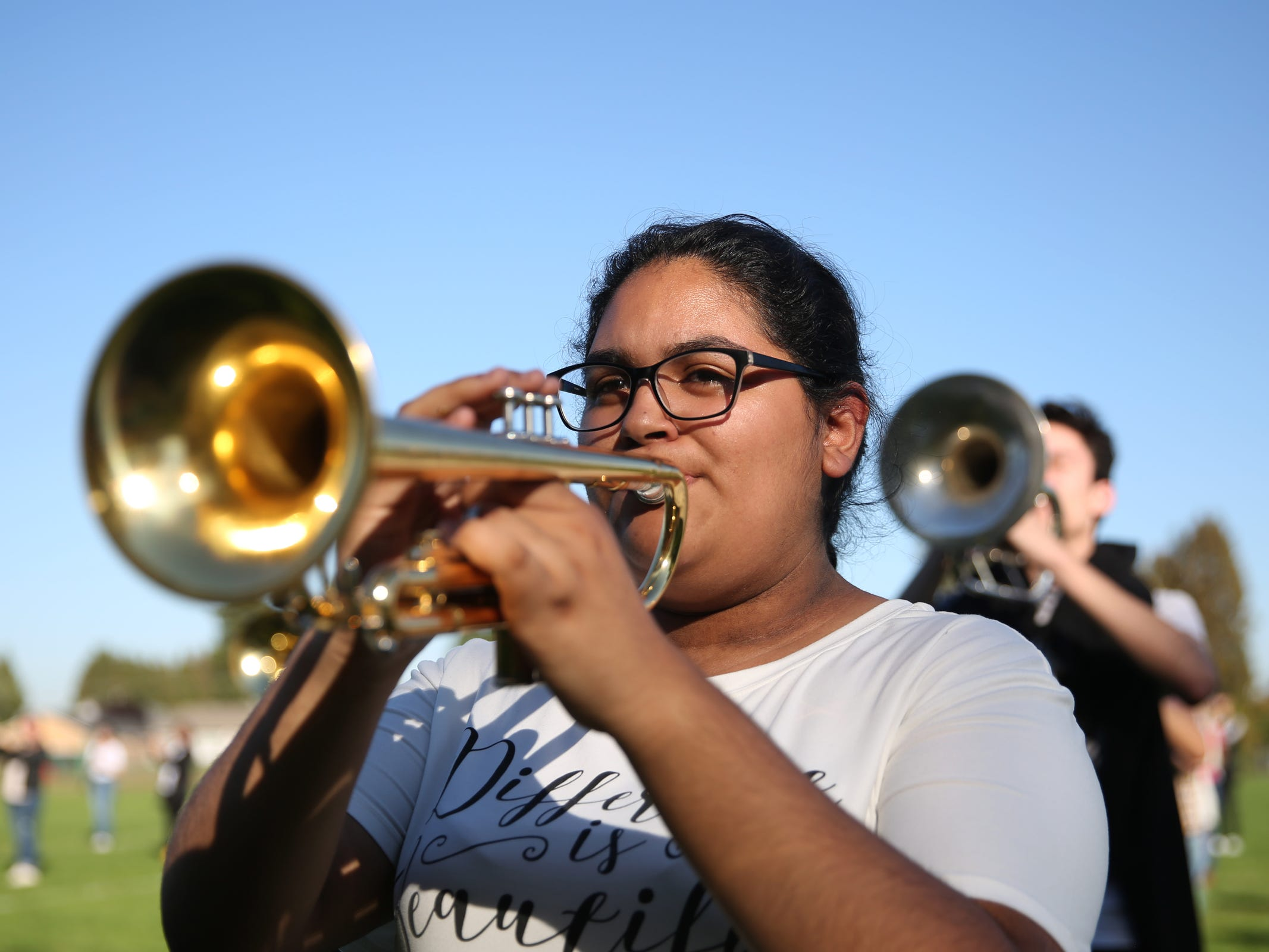 A McKay marching band trumpeter rehearses at McKay High School in Salem on Thursday, Sep. 27, 2018.