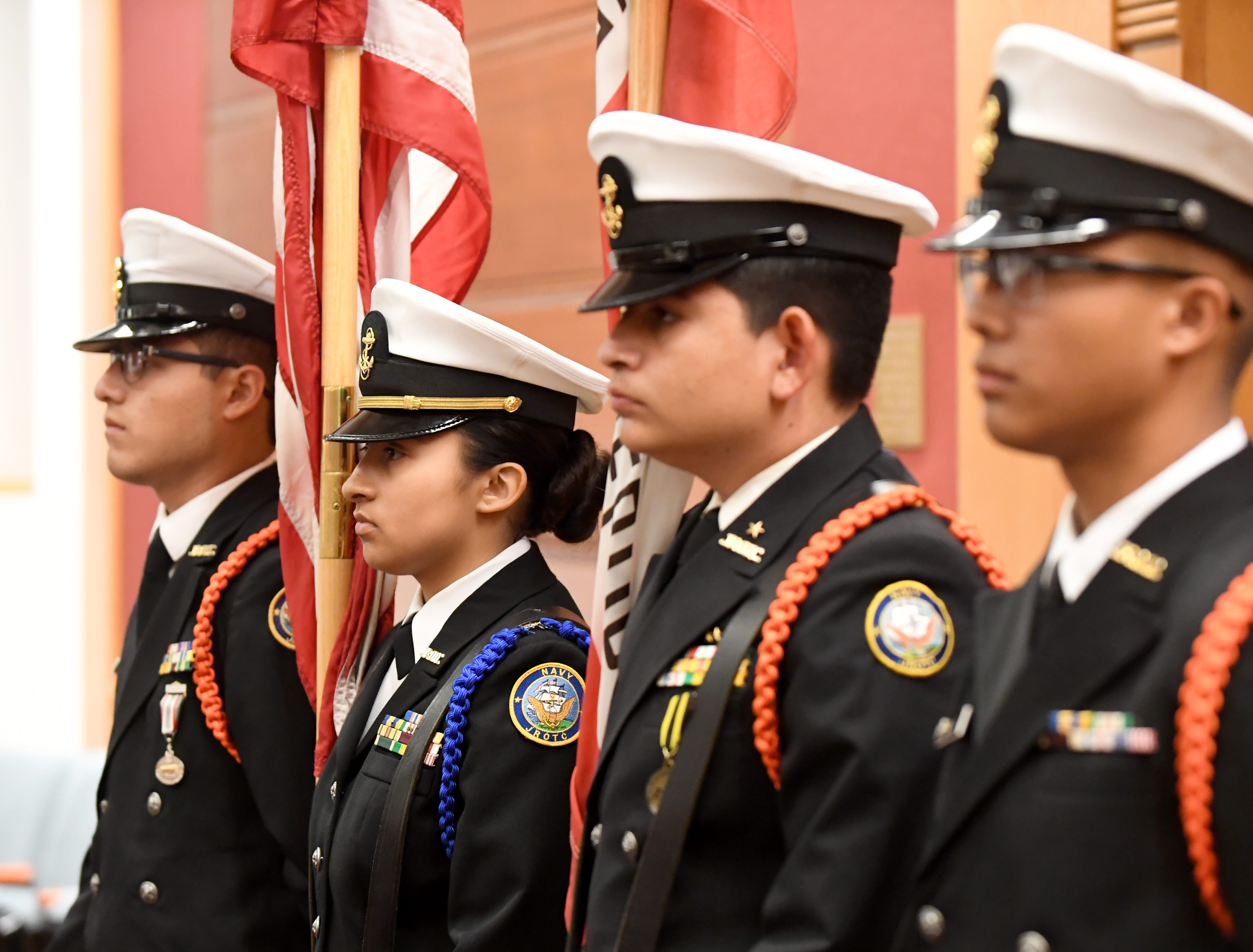Members of the Everett Alvarez High School's Navy Junior Reserve Officer Training Core program helped open the National Day of Remembrance for Murder Victims ceremony.