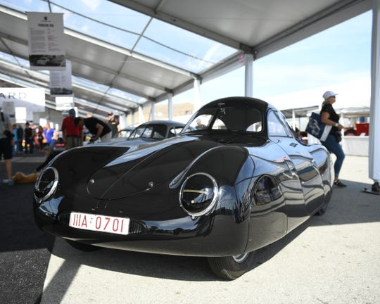 The Porsche Type 64, built in 1939, was the first racing car ever made by the German automaker. The Type 64 and many others from the storied car company's past are on display this weekend at WeatherTech Raceway Laguna Seca.