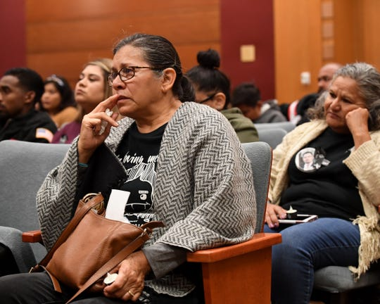Maria Rodriguez (left) attends the National Day of Remembrance for Homicide Victims on Thursday. Her son was killed in a hit-and-run at Natividad Road and Los Coches Avenue in 2014. Elsa Sandoval (right) lost her son Joey when he was shot in 2003.