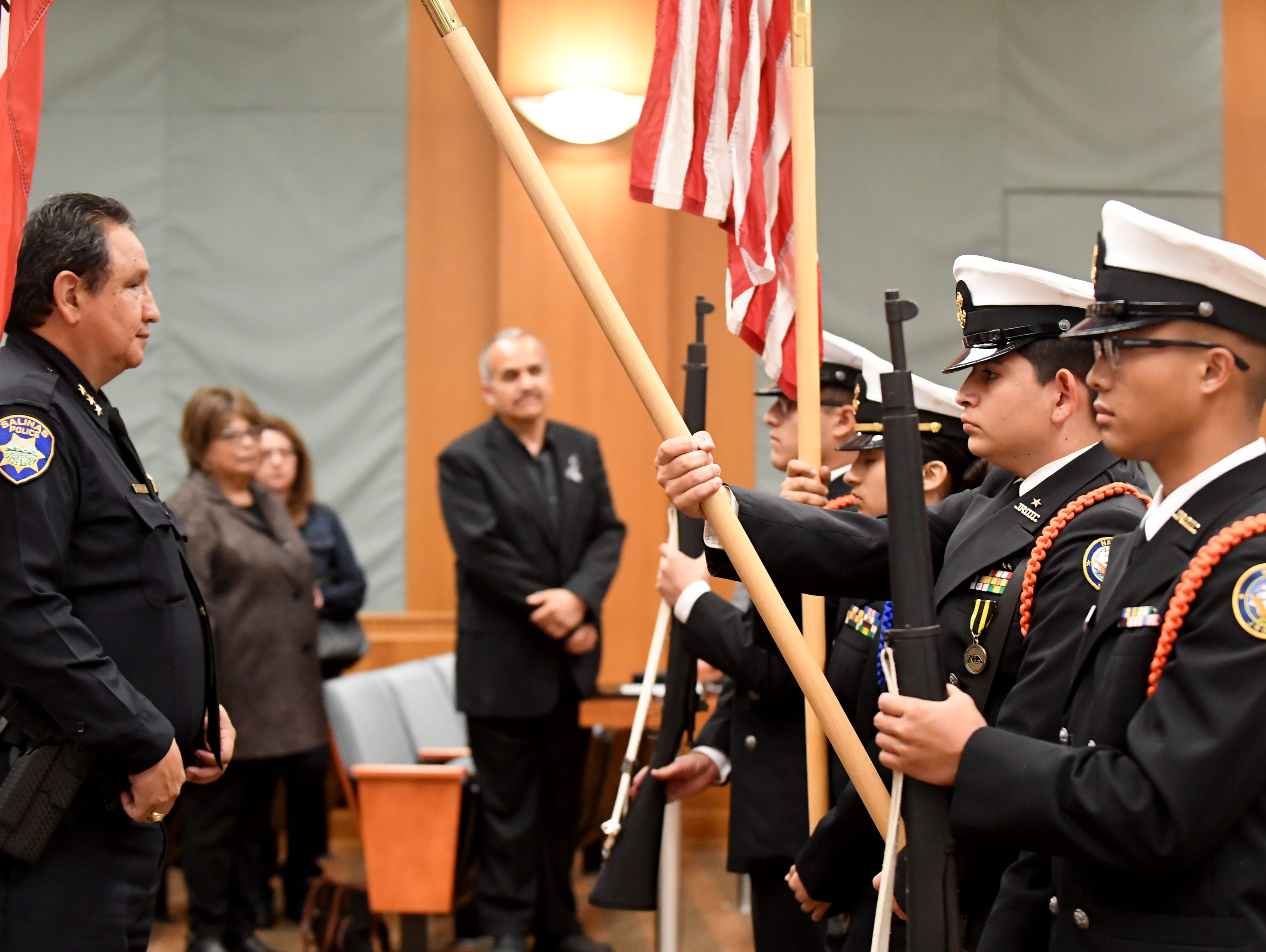 Members of the Everett Alvarez High School's Navy Junior Reserve Officer Training Core program help open the National Day of Remembrance for Murder Victims ceremony.
