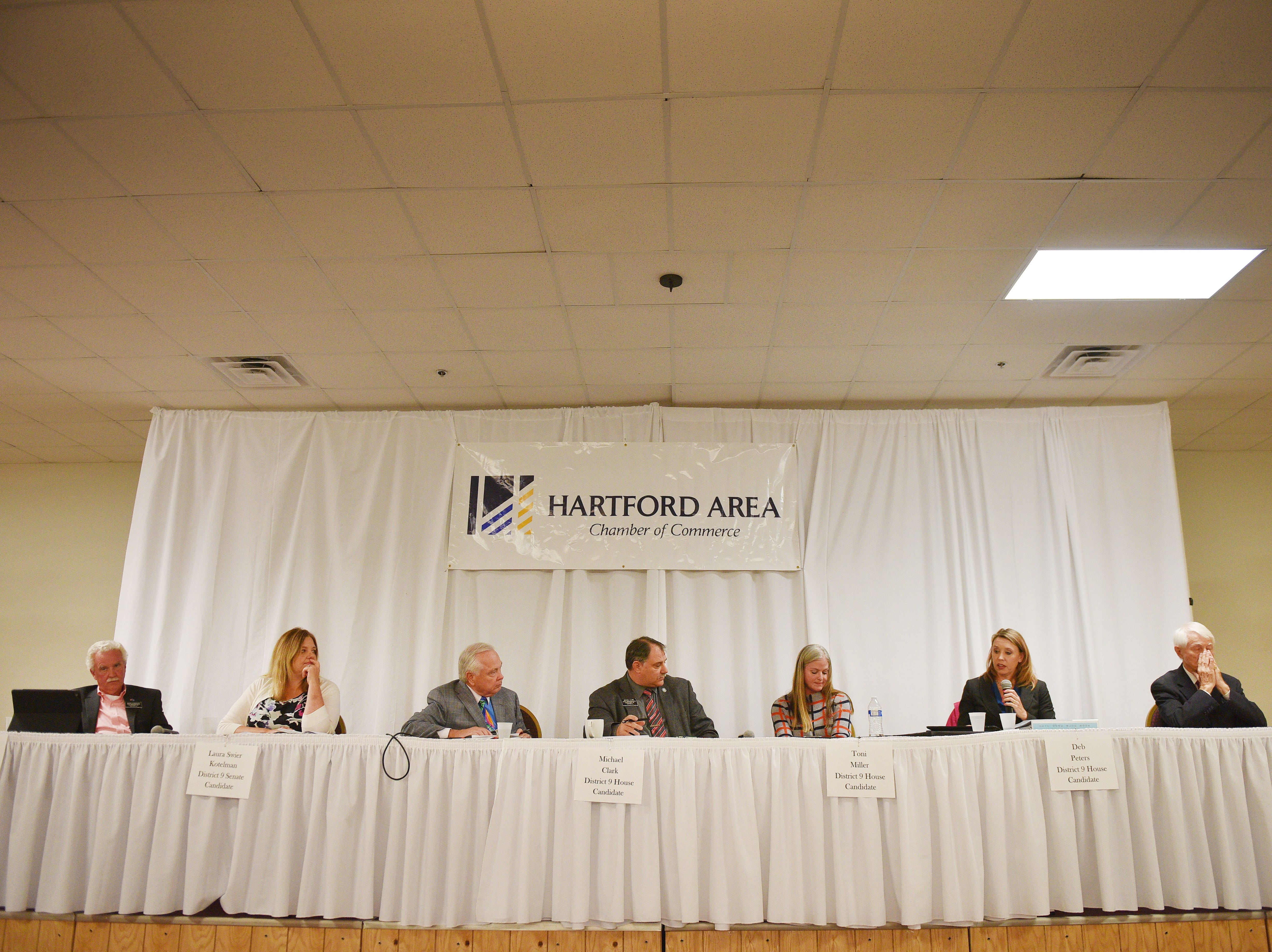 Legislative candidates face questions from constituents Thursday, Sept. 27, at Dakota Plains Event Center in Hartford. Candidates discussed Initiated Measure 22, health care and spending priorities.
