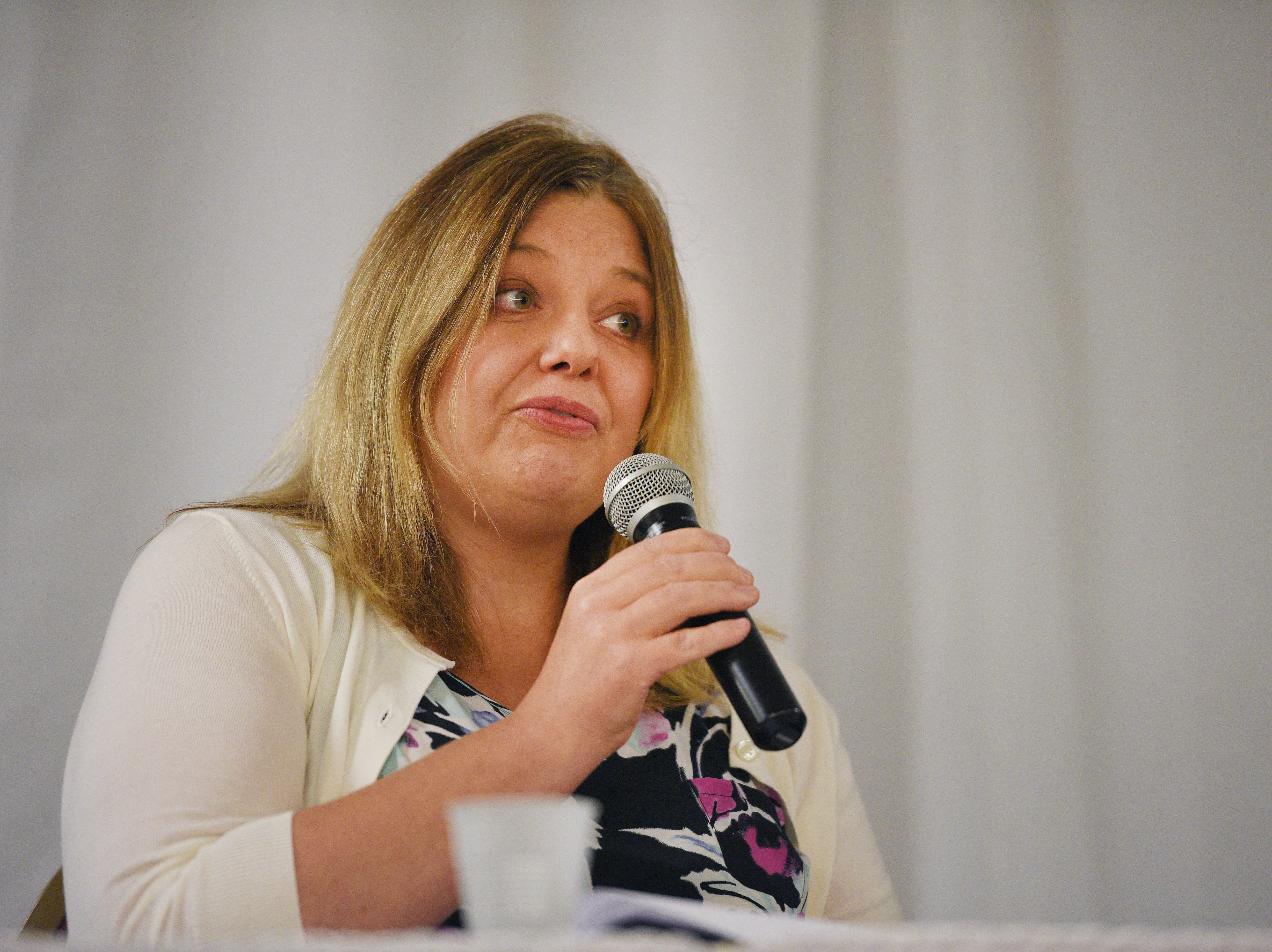 Legislative candidate Laura Swier Kotelman (D) answers questions from constituents Thursday, Sept. 27, at Dakota Plains Event Center in Hartford. Candidates discussed Initiated Measure 22, health care and spending priorities.