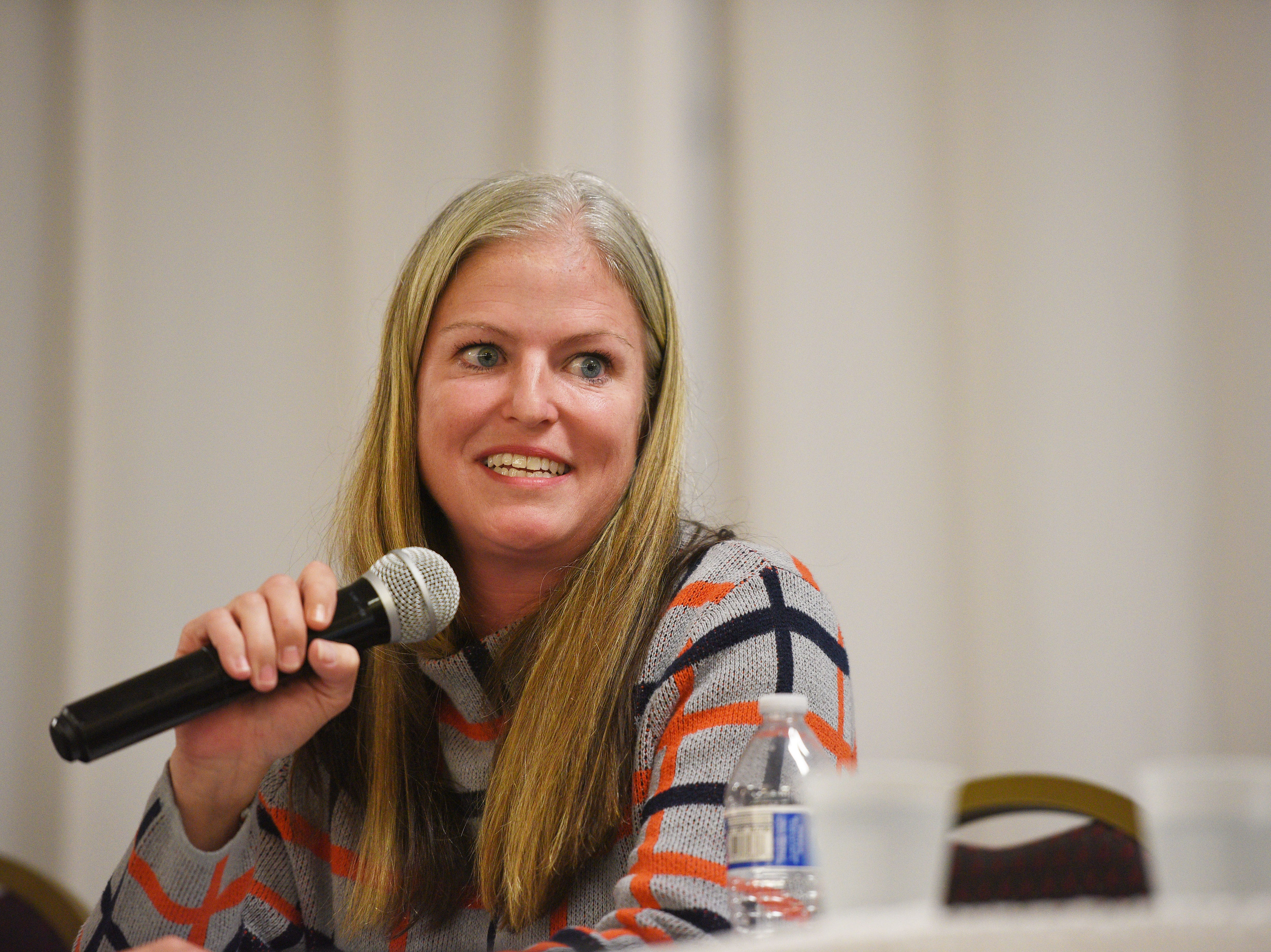 Legislative candidate Toni Miller (D) answers questions from constituents Thursday, Sept. 27, at Dakota Plains Event Center in Hartford. Candidates discussed Initiated Measure 22, health care and spending priorities.