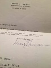 Former President of the United States Harry Truman sent a letter to Infantryman Nelson Butler dated October 9, 1968.