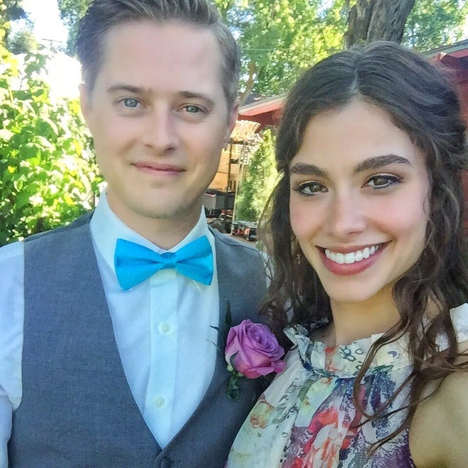 "Actors Lucas Grabeel and Sarah Davenport on location for ""Little Women,"" out in theaters Sept. 28, 2018. Grabeel is originally from Springfield."