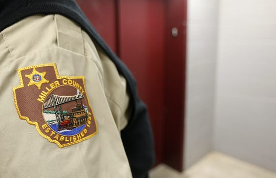 The emblem on the shirt of a Miller County Sheriff's deputy.