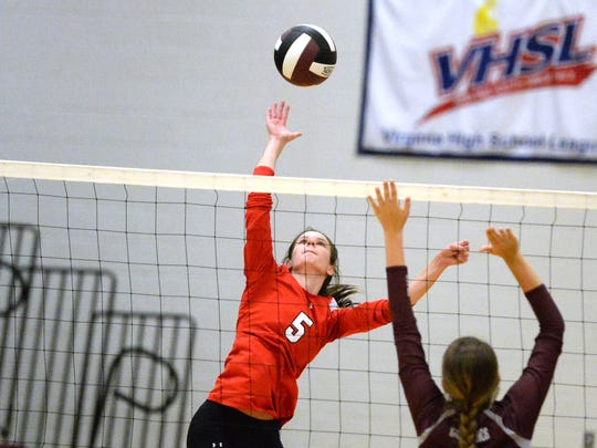 Riverheads' Abbey Eavers gets ready to attack Thursday night during her team's four-set win over Stuarts Draft.