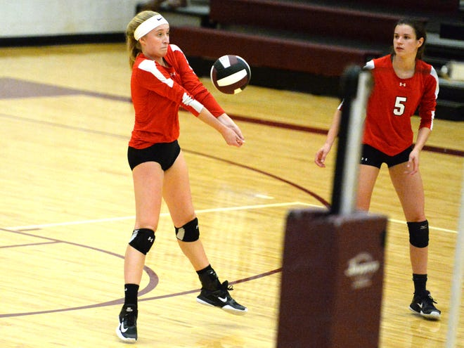Emma Tomlinson (4) and Abbey Eavers (5) led Riverheads Tuesday night in a sweep over Buffalo Gap.