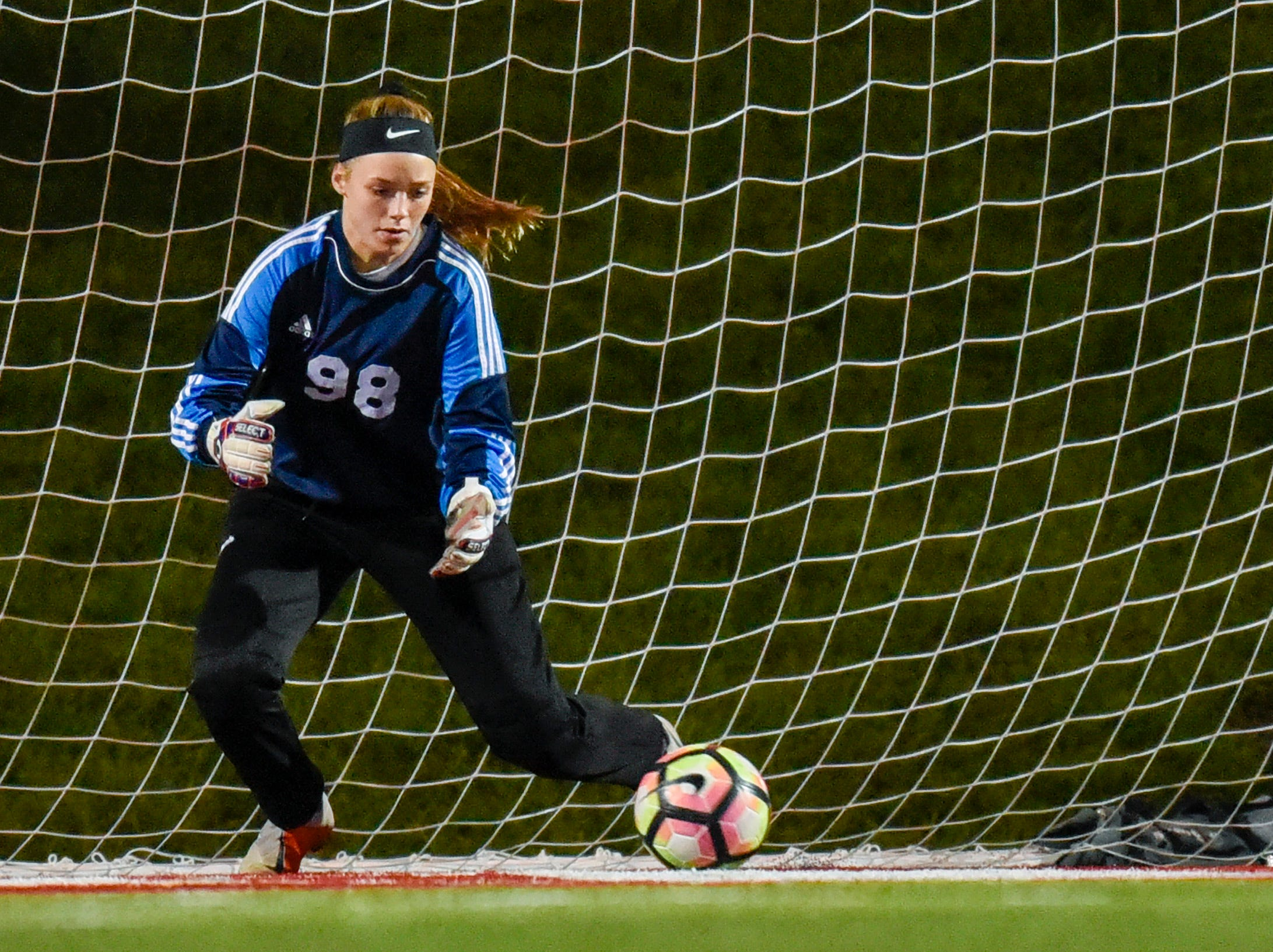 Apollo goalie Megan Vasek makes a save against Tech during the second half Thursday, Sept. 27, at Husky Stadium.