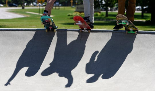 Skater's shadows are shown on the surface of the skate plaza during an event in St. Cloud in this file photo.