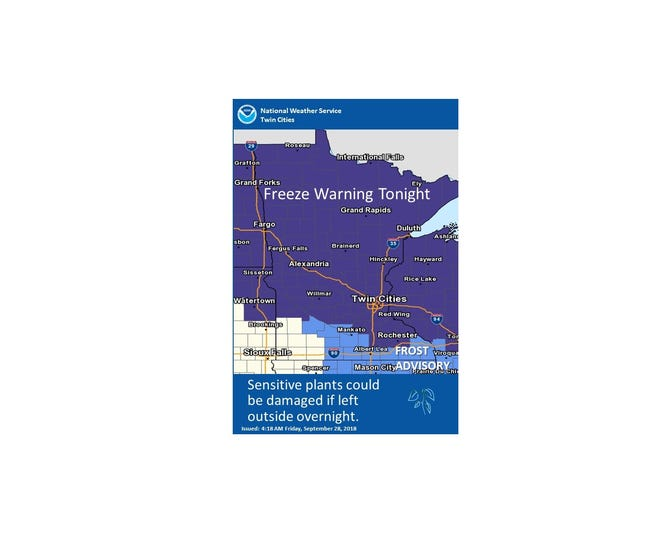 The National Weather Service issued a freeze warning from 11 p.m. Friday, Sept. 28, to 9 a.m. Saturday, Sept. 29.