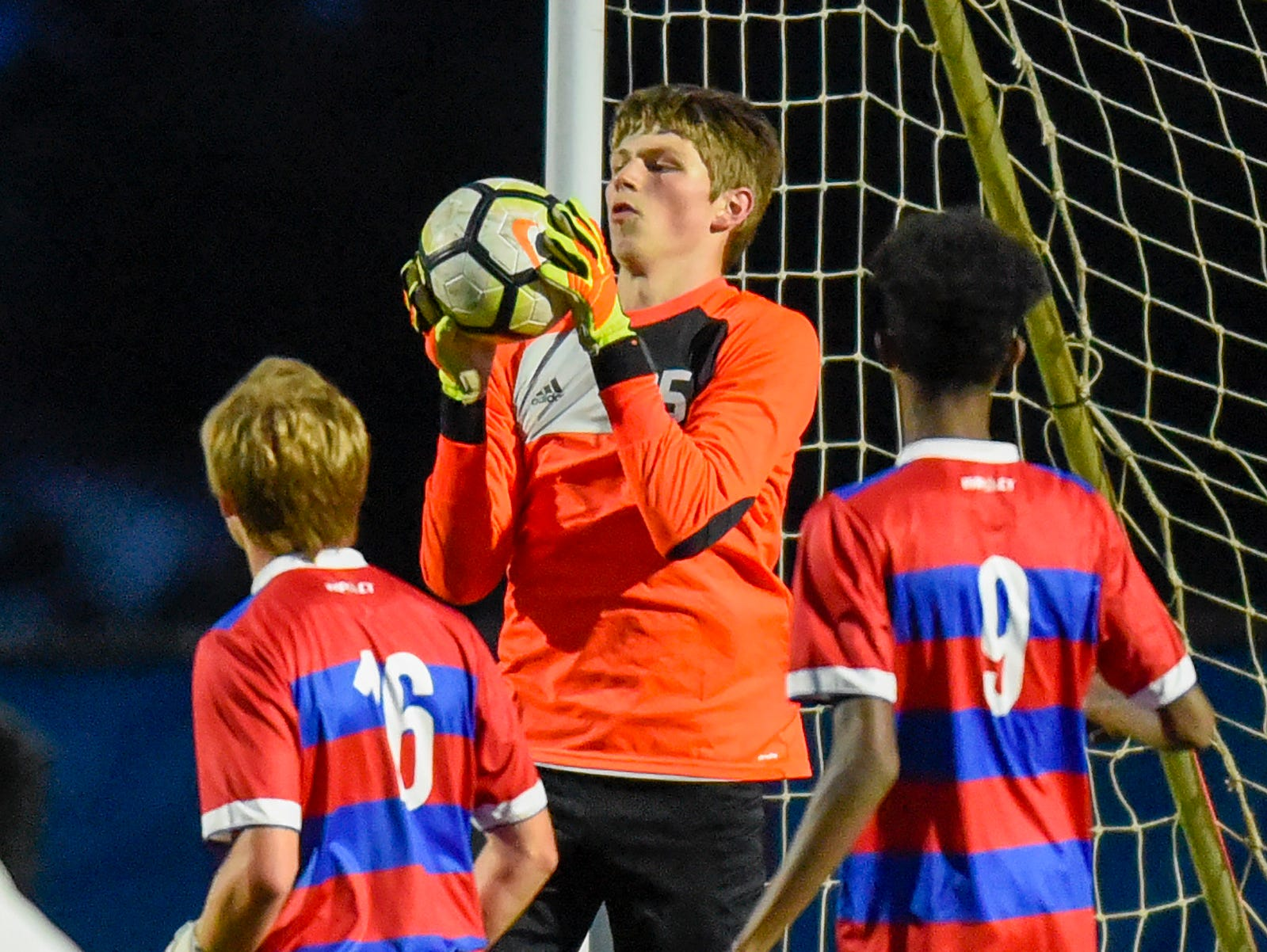 Apollo goalie Zach Schiltz makes a save against Tech during the first half Thursday, Sept. 27, at Apollo High School.