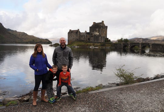 Maria Surma Manka and her family have gone to London, New Zealand and Spain for workactions, working vacations. They are shown here in 2016 in front of the Eilean Donan Castle in Scotland.