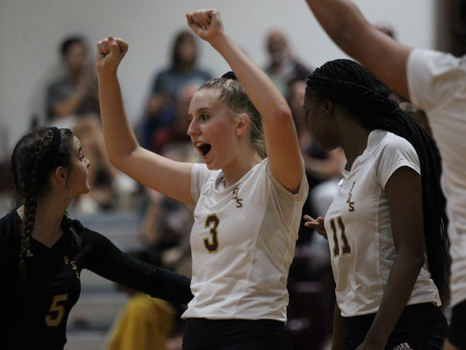 Florida High's Carlee Allbaugh celebrates a point during a win over Wakulla in the regular season.