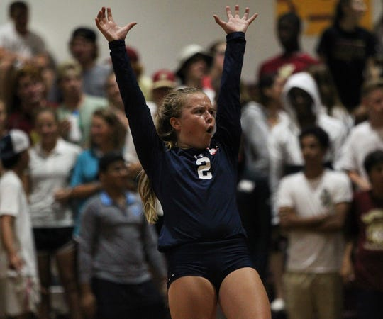 Wakulla sophomore libero Clara Alford celebrates a point during a game last week at Florida High.