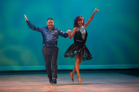 Star dancer Mike Gonzalez and instructor Jill Bogacik perform a Latin combo at the 2018 Dancing With the Martin Stars on Sept. 22 at the Lyric Theatre.