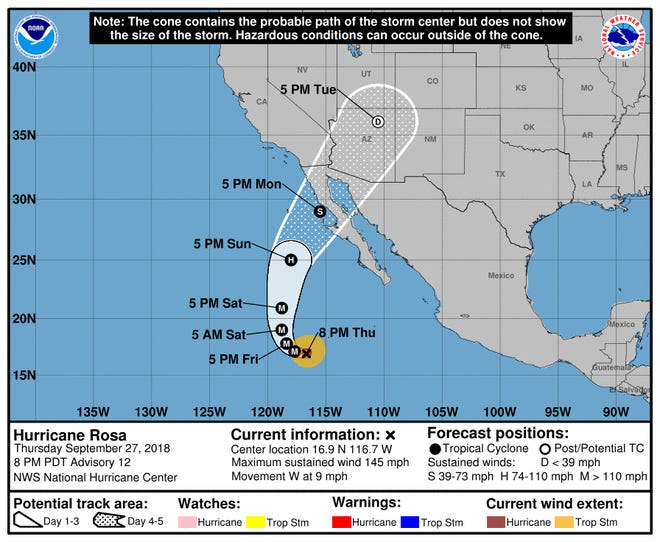 Projected path of Hurricane Rosa as of 11 p.m. Thursday, Sept. 27, 2018.