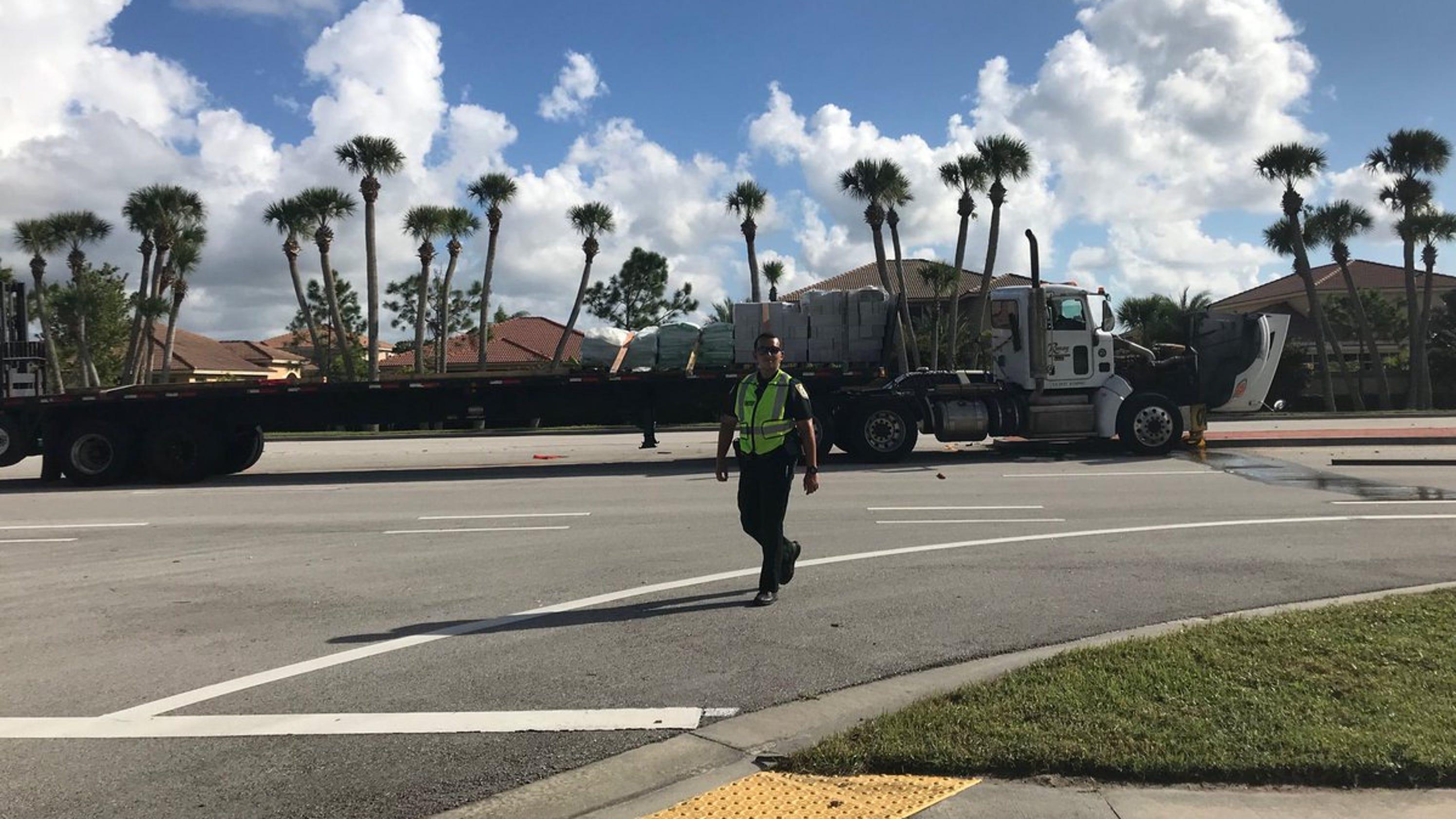 Crash involving semi kills woman south of Vero Beach