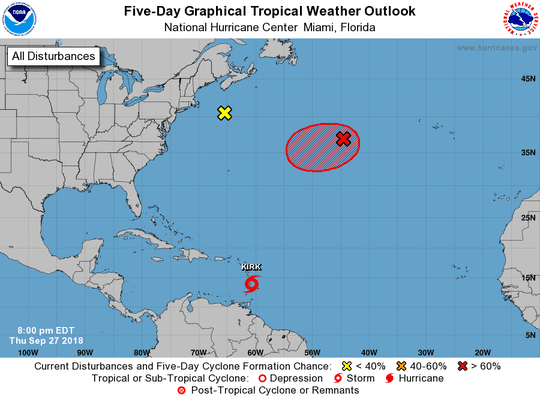 Tropical weather outlook at 8 p.m. Thursday, Sept. 27, 2018.