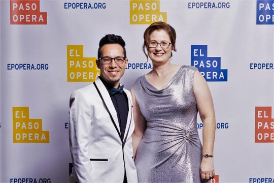 Arianne Marcee, El Paso Opera executive director, and Justin Lucero, El Paso Opera artistic director, at the Sept. 15 launch of the organization's new logo and rebranding campaign.