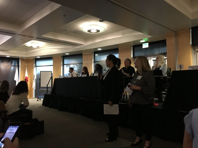 THRIVE Conejo founders Cindy Liu and Lee Ann Holland address the crowd before the Conejo Valley Unified school board candidate forum.