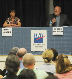 Mary Bergen and Angelo Spandrio, candidates for the Casitas Municipal Water District, Division 4, discuss their views Thursday during a forum at the Oak View Park and Resource Center.