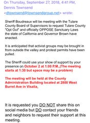 "In an email obtained by the Times-Delta, Dennis Townsend appears to be asking people to gather and support sheriff ""opt out"" of Sanctuary State."