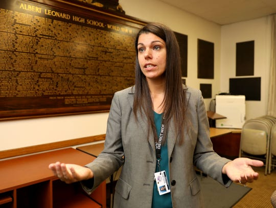 Brooke Balchan, D.O., the medical director for the New Rochelle School District, talks about an incident of tuberculosis at the Columbus School, Sept. 28, 2018.
