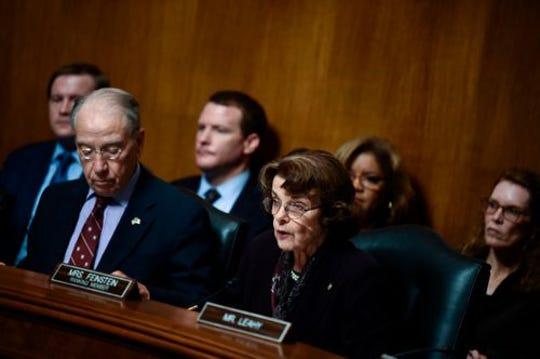 """Sen. Dianne Feinstein D-CA (front right) Ranking Member of the Senate Judiciary Committee criticized Brett Kavanaugh's testimony Thursday saying, """"I have never seen a nominee for any position behave in that manner,""""  She voted no on Kavanaugh."""