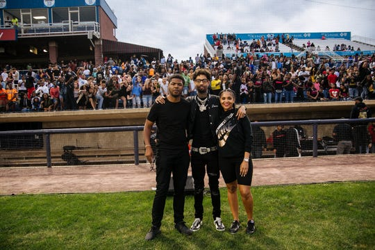 Earl Cooper, PNB Rock and Ashley Christopher at HBCU week's Battle of the Bands at Frawley Stadium.