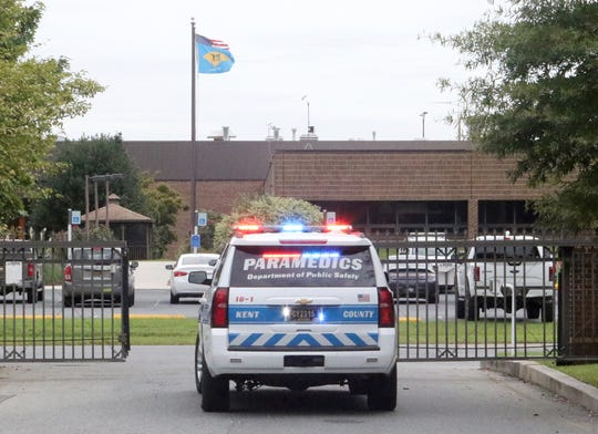 A paramedic vehicle leaves the Kent County Department of Public Safety grounds after receiving an emergency call. In Kent County, the vehicles are manned with two paramedics.