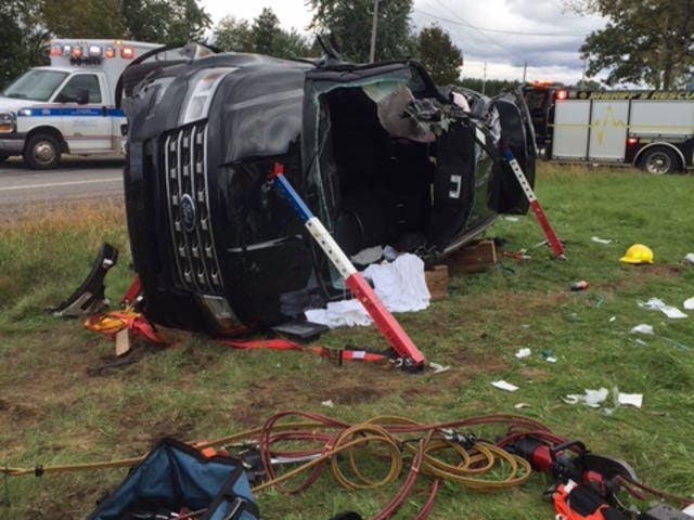 The driver of an SUV had to be extricated and airlifted to Marshfield Medical Center after a crash involving a semi-truck Friday, Sept. 28, 2018, in the Wood County town of Sigel.