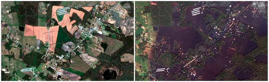 This combination of satellite images provided by DigitalGlobe shows farms, roads, and homes on April 6, 2018, left, before Hurricane Florence moved through the area and after the storm on Thursday, Sept. 20 near Wallace, N.C. Hurricane Florence is testing the resolve of farmers in the Carolinas, who could face billions of dollars in agricultural damage while still feeling the sting from Hurricane Matthew in 2016. Early farm reports confirm pre-storm worries about losses to tobacco, cotton and corn crops.