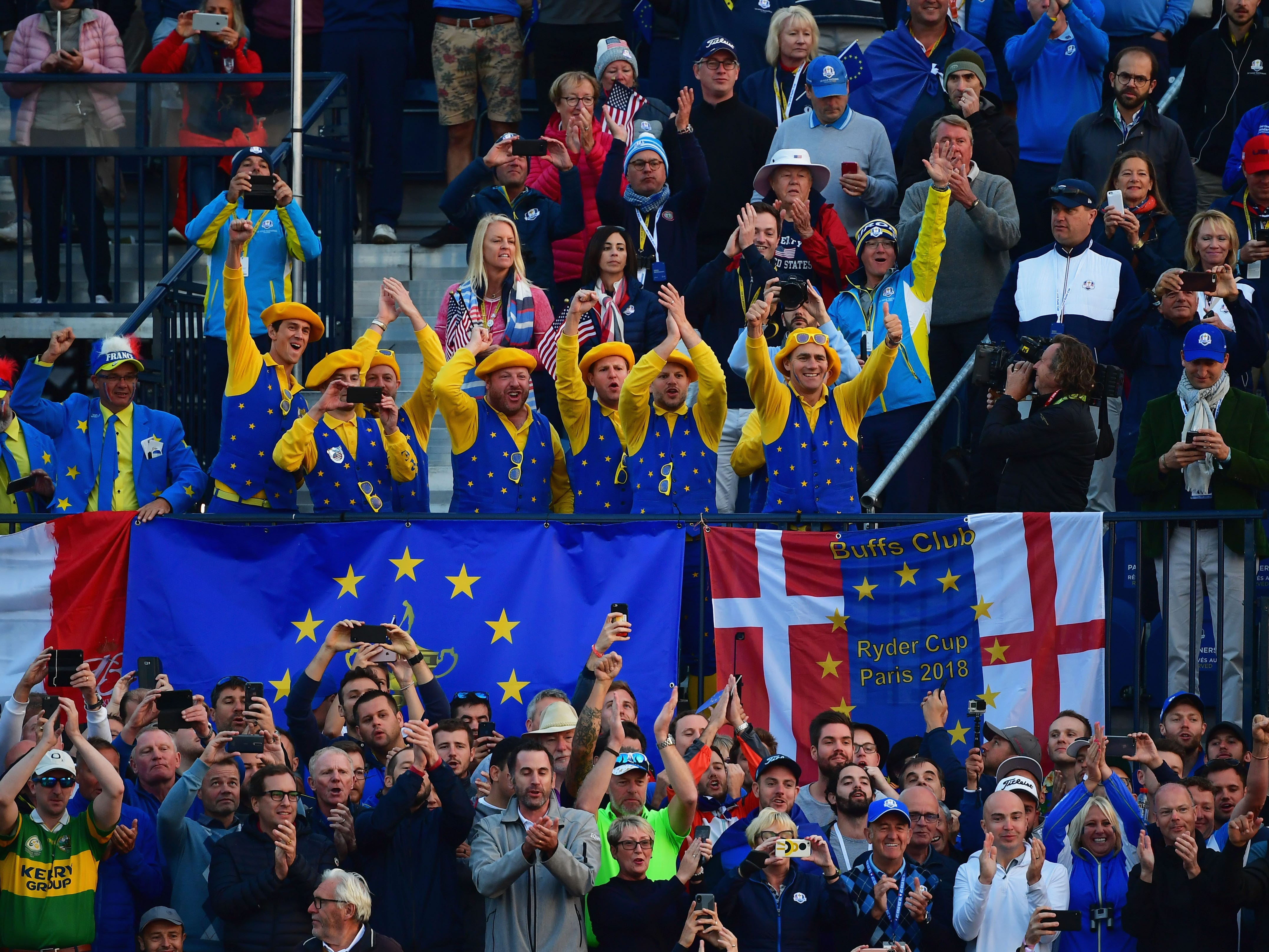 Fans show their support during the morning fourball matches of the 2018 Ryder Cup at Le Golf National on Sept. 28.